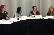Panelists from non-profits discuss the benefits of bitcoins, photo by Carrie Kirby