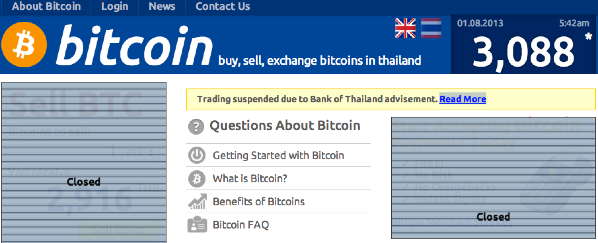 The shuttered website of the bitcoin.co.th exchange. The price at the time of closing was 3,088 Thai Baht, or $98.68 USD. Source: bitcoin.co.th