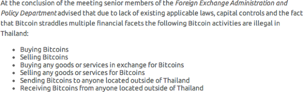 The restrictions on bitcoin in Thailand as told to bitcoin.co.th by the regulators there. Note there is no restriction on bitcoin mining. Source: bitcoin.co.th