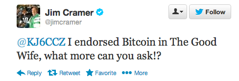 Cramer has tweeted about bitcoin several times. Source: Twitter