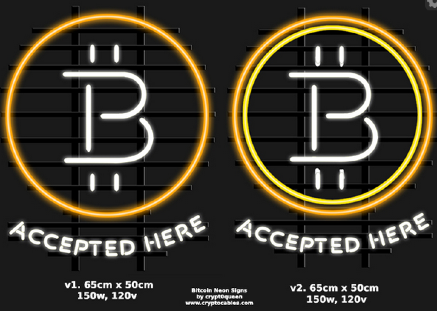 Initial designs for the bitcoin neon sign. Source: Imgur