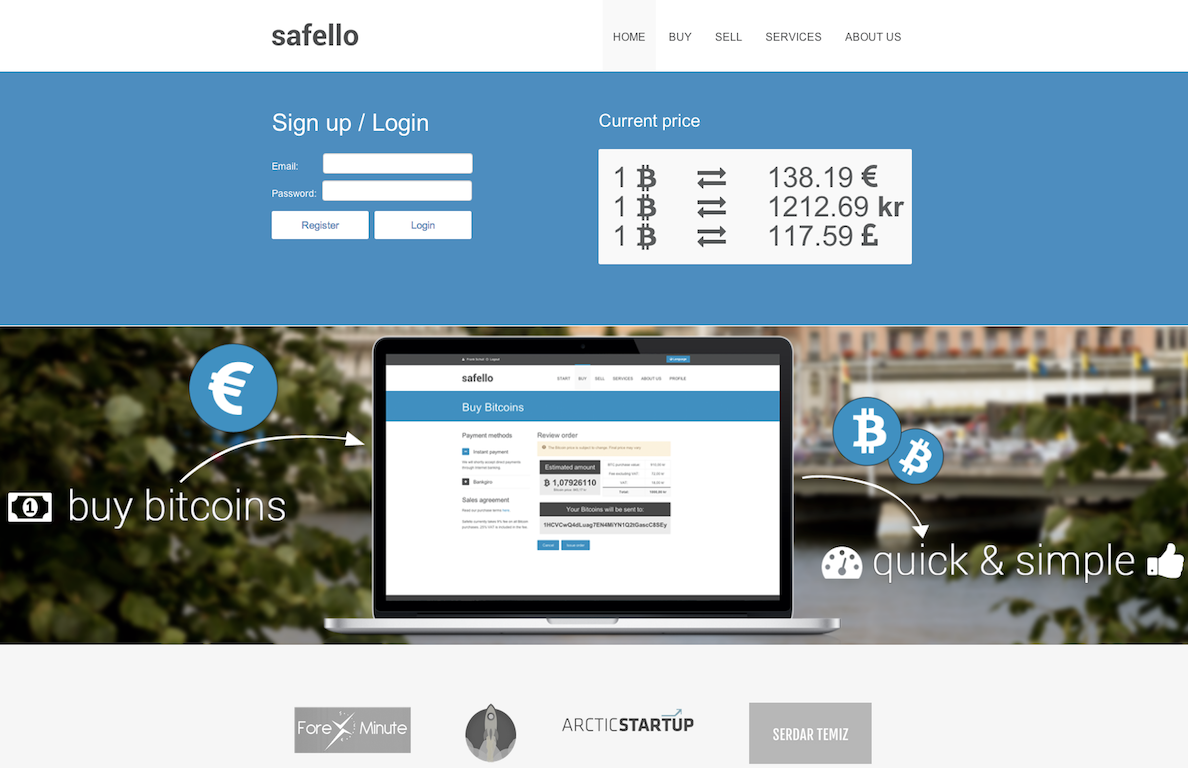 Safello, a Swedish bitcoin exchange that launched in August 2013.