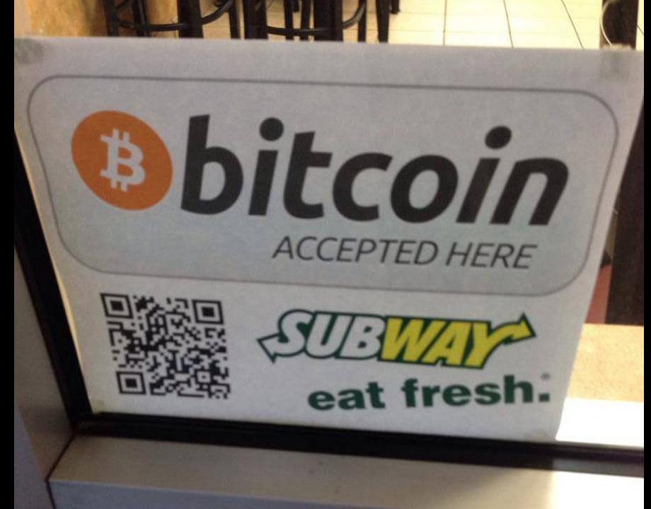 Bitcoin Accepted Here - Subway