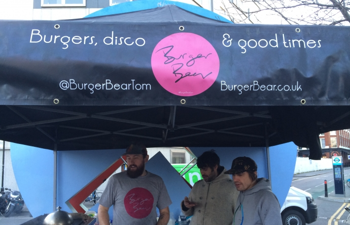 London bitcoin burger stall