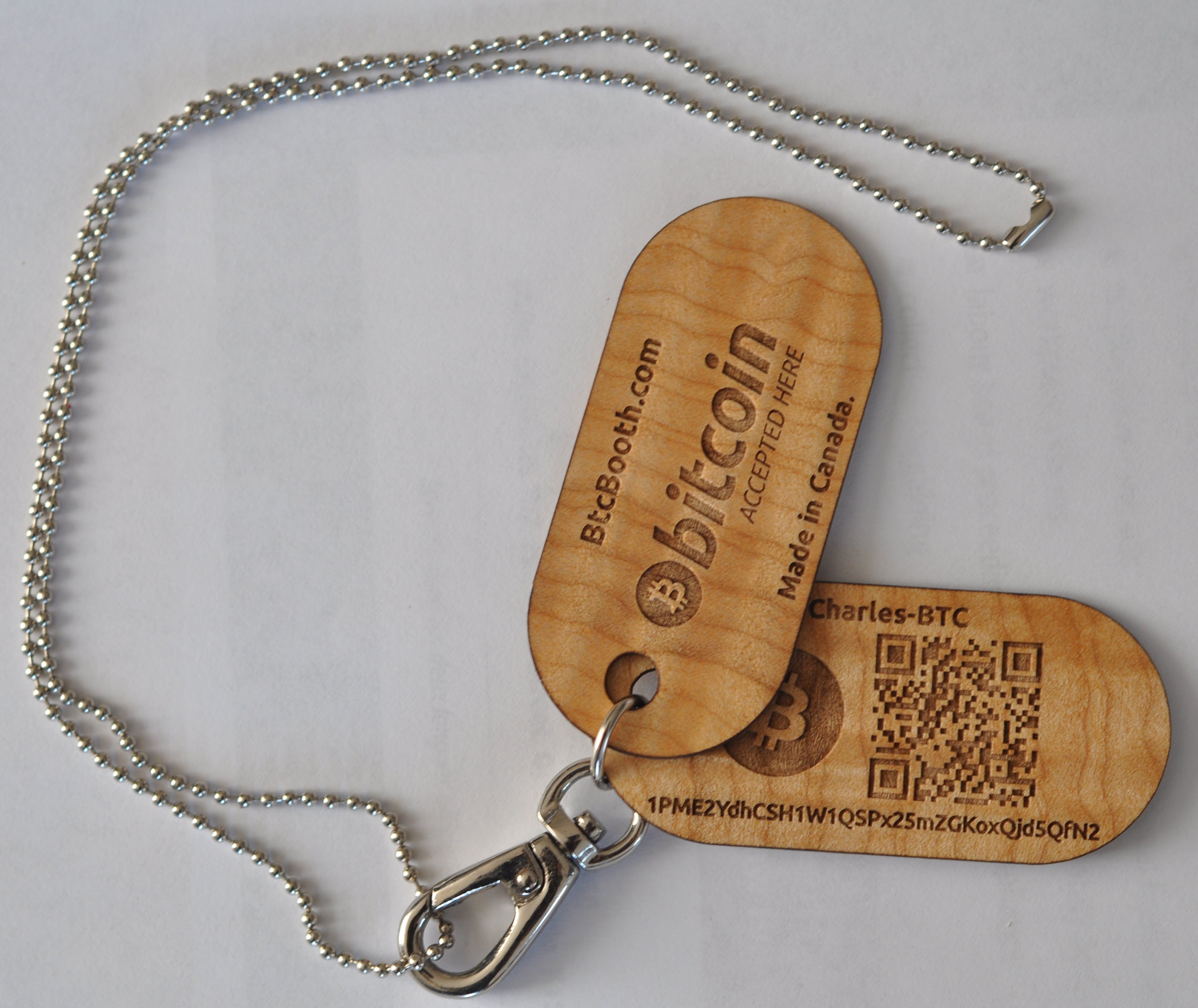 The wood wallets are tags, which allows the user to wear it around their neck.