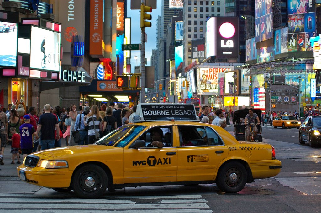 Yellow cab in Times Square New York