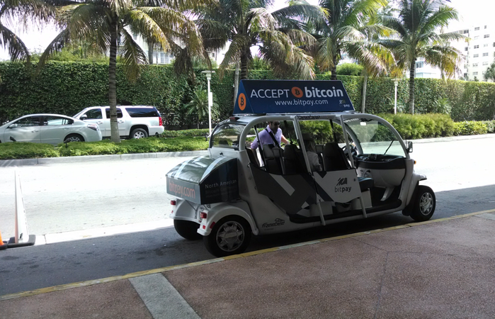 Bitcoin was accepted for rides to and from the parking areas to the convention center.
