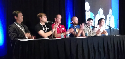 Hive CEO Wendell Davis (3rd from right) on the BTC Miami startup panel.