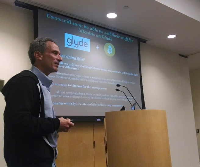 Lieberman introduces his company's new bitcoin payment option at the Stanford bitcoin meetup.