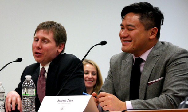 Jeremy Liew (R) seated next to SecondMarket's Barry Silbert at the New York DFS hearings last month. Source: Vice