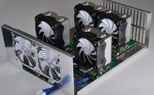 Big fans: A look at the Neptune miner without its cover. Source: KnCMiner