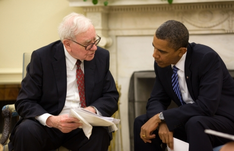 President Barack Obama meets with Warren Buffet in the Oval Office, July 14, 2010. (Official White House Photo by Pete Souza)  This official White House photograph is being made available only for publication by news organizations and/or for personal use printing by the subject(s) of the photograph. The photograph may not be manipulated in any way and may not be used in commercial or political materials, advertisements, emails, products, promotions that in any way suggests approval or endorsement of the President, the First Family, or the White House.