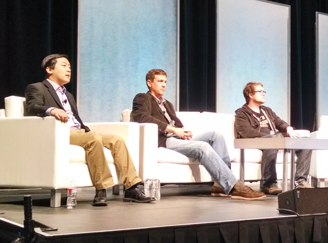 Charlie Lee (LTC), Paul Vernon and Jackson Palmer (DOGE) answering questions at CoinSummit's altcoin panel.