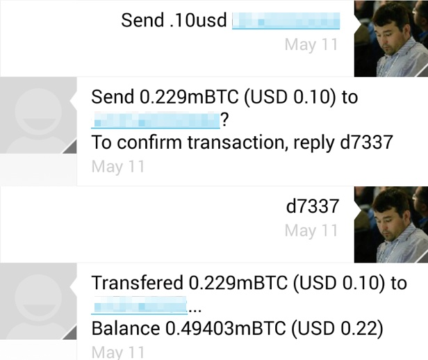 Sending money to a phone number via SMS.