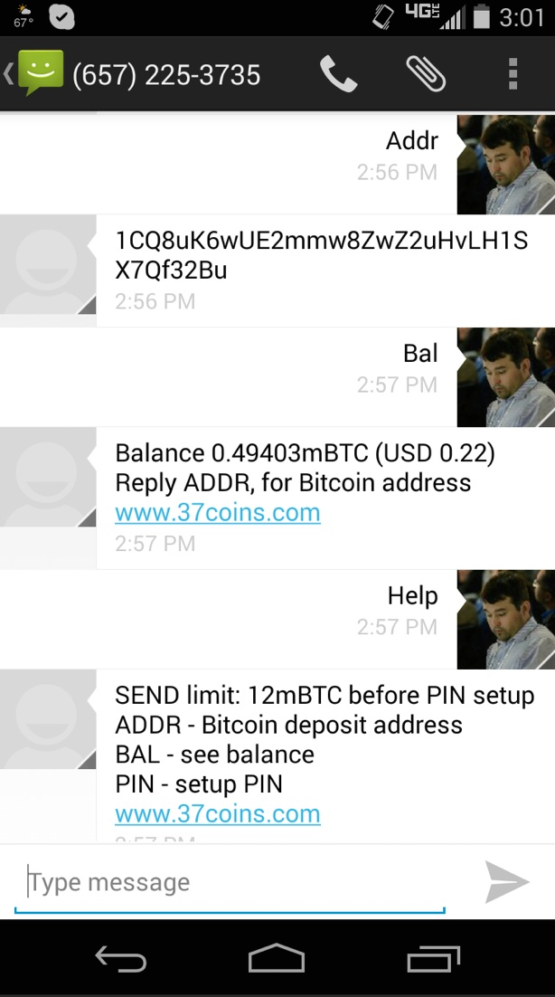 37Coins allows anyone to send texts in order to use a hosted bitcoin wallet.