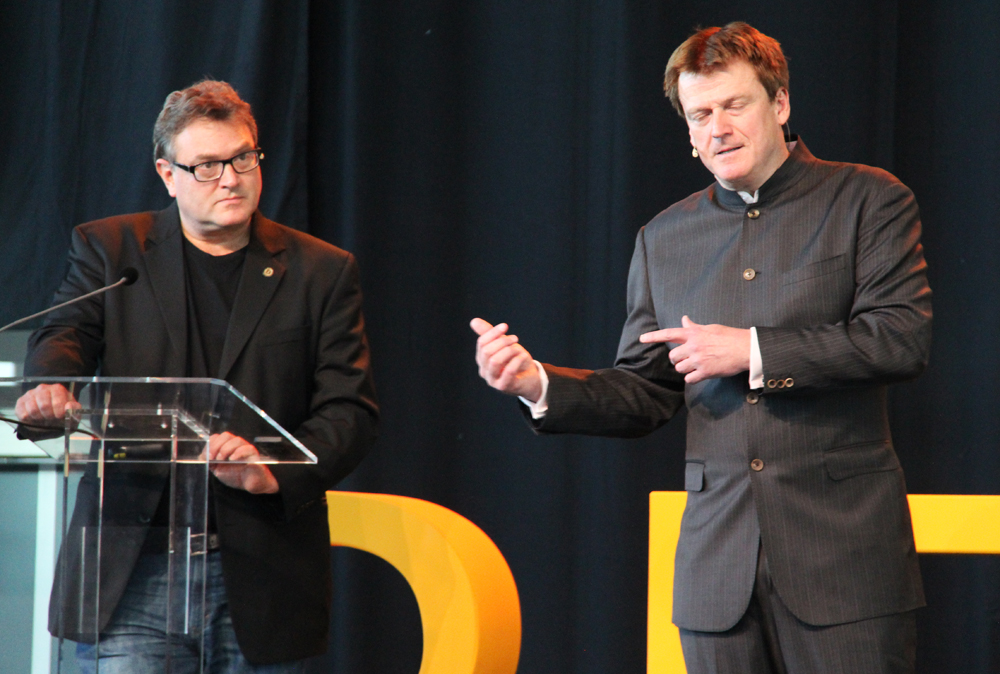 Jon Matonis and Patrick Byrne during the Keynote Address at Bitcoin 2014 in Amsterdam.