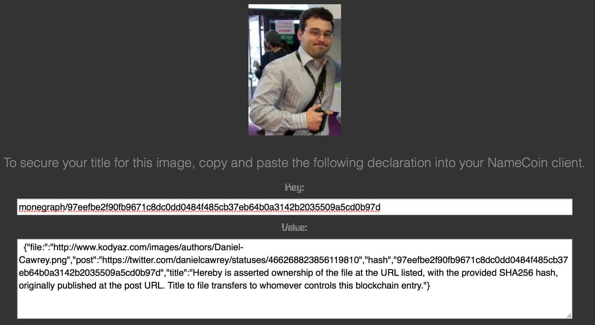 Monegraph allows people to certify images on the web, then tweets out public proof.