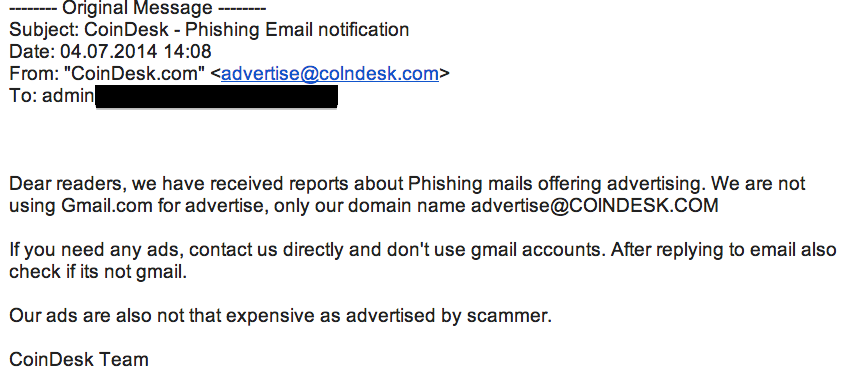 Phishing Attempt CoinDesk