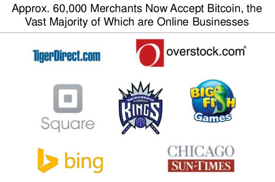 Sample of companies accepting BTC. Source: CoinDesk Q1 2014 Report