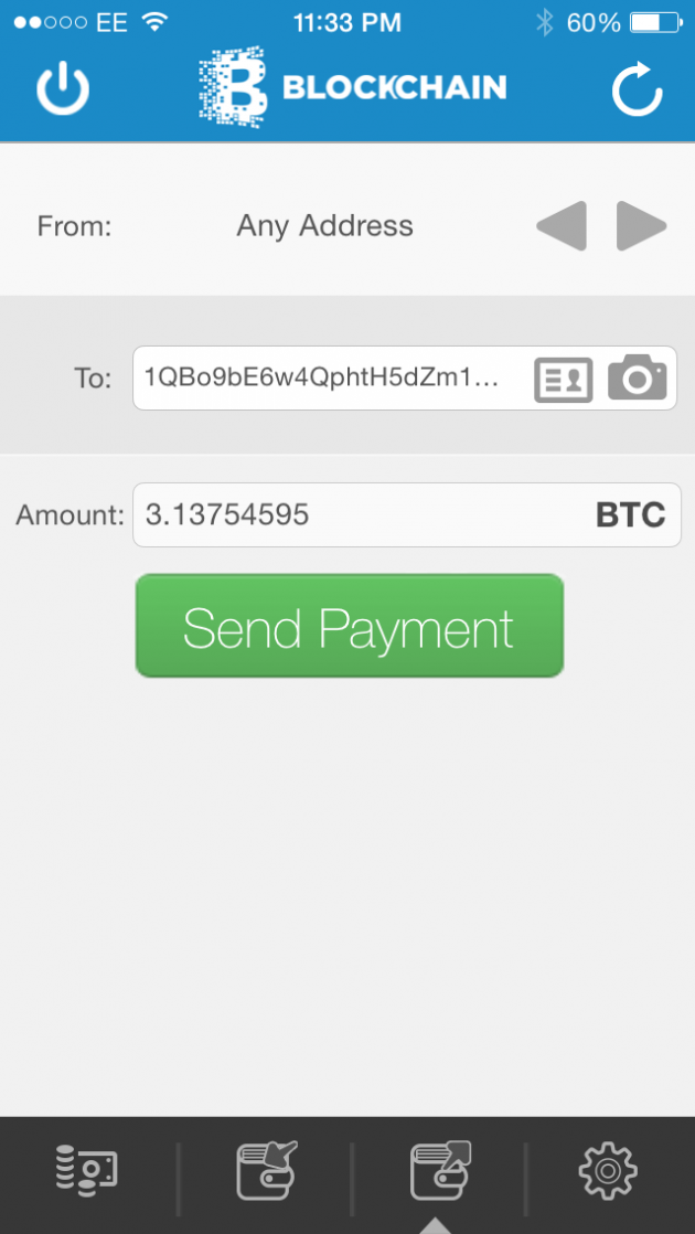 Blockchain iOS wallet - send page