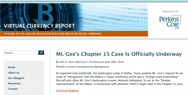 Perkins Coie publishes a digital currency legal blog called the Virtual Currency Report.