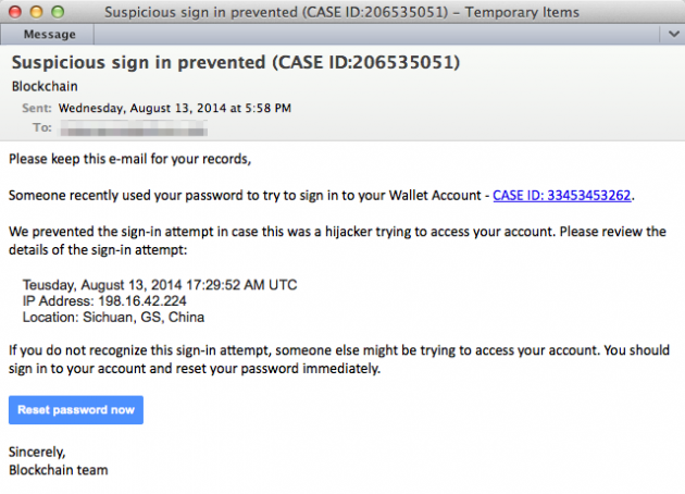 The malicious e-mail mimicking a Blockchain.info wallet security alert.