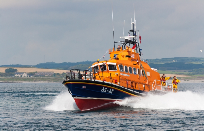 "PORT ST. MARY, ISLE OF MAN, UK - AUGUST 22: Port St. Mary lifeboat ""Gough Ritchie II"" (Trent class) taking part in RNLI lifeboat festival on August 22, 2012 at Port St. Mary in the Isle of Man, UK.  Copyright: silvergull"