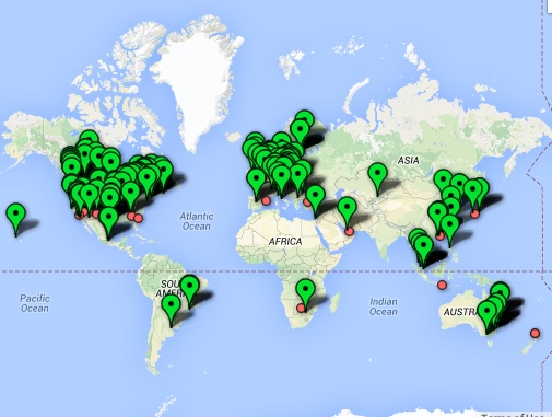 Bitcoin ATMs are popping up all over the world. Source; CoinDesk Bitcoin ATM Map