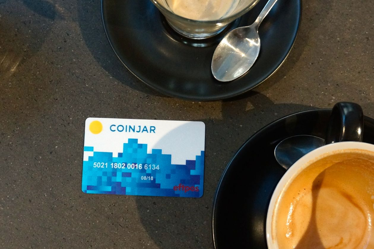 Coinjar's Swipe debit card can be used in cafes and stores across Australia