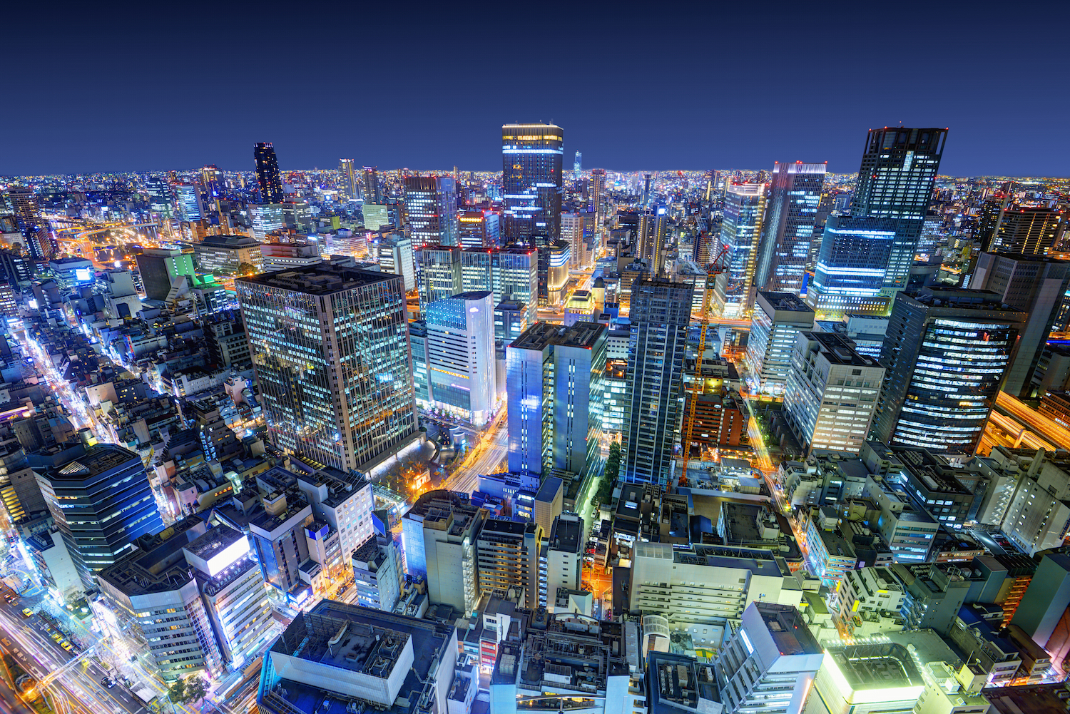 Japanese city at night