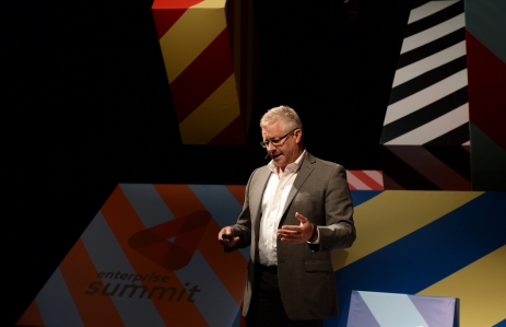 DocuSign founder Tom Gonser on stage at Web Summit 2014 via Web Summit Flickr.