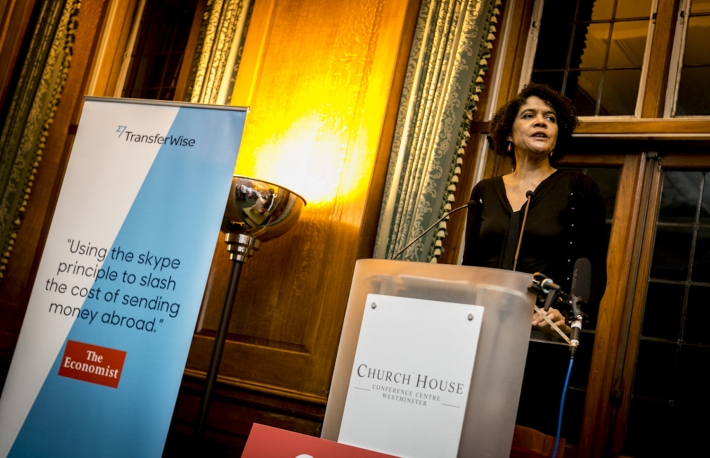 Chi Onwurah speaking at a Transferwise event on 19th Nov 2014. via Transferwise.