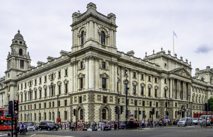 Picture of UK Treasury building. https://www.flickr.com/photos/kurt-b/