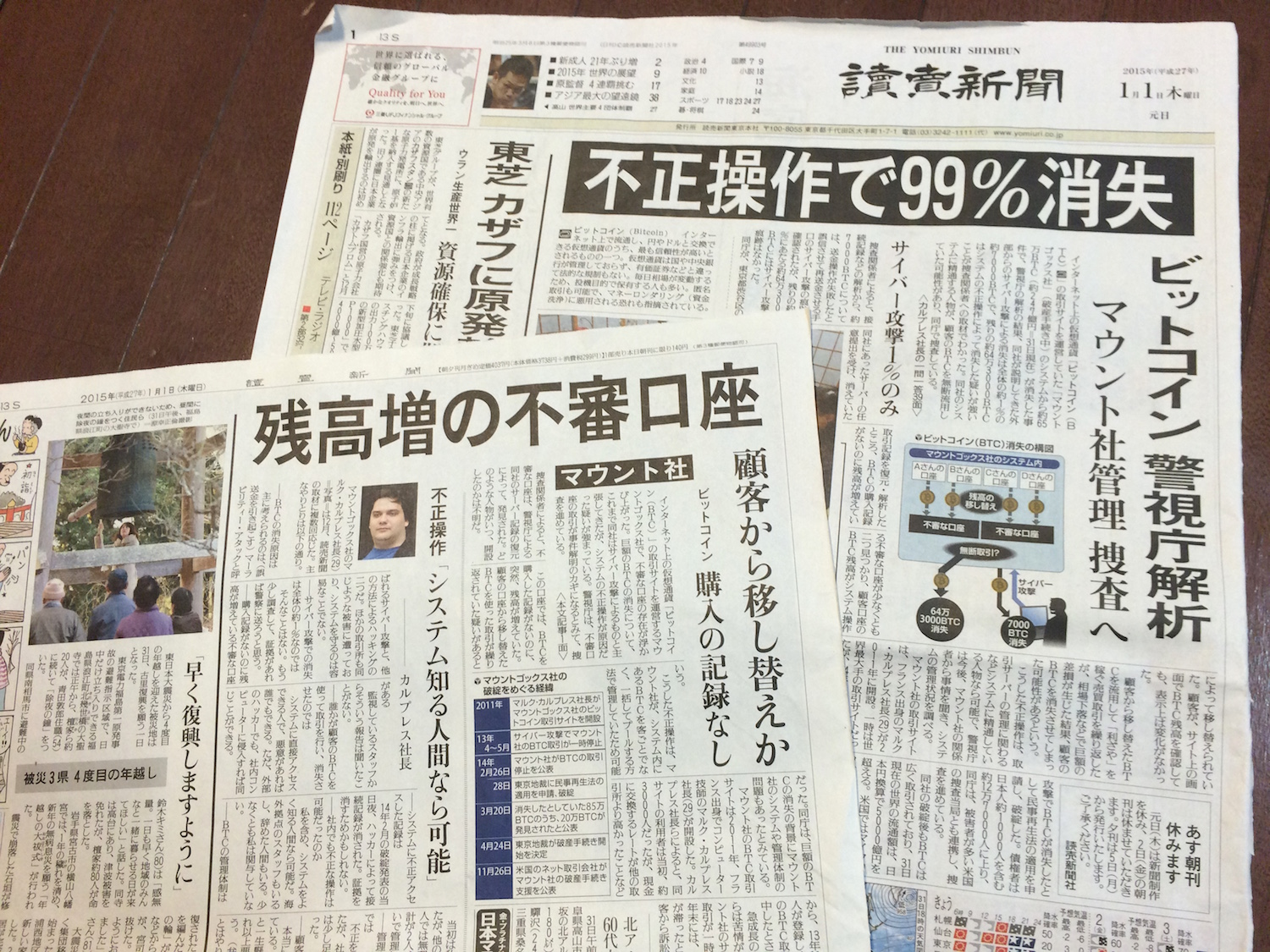 Japanese newspaper readers began the year with bitcoin as front-page news