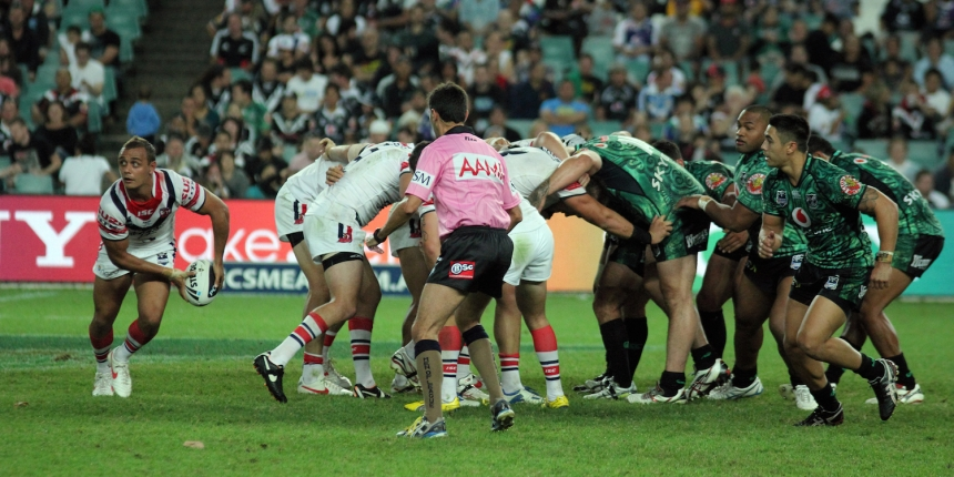 A NRL Rugby League match between Sydney Roosters and New Zealand Warriors