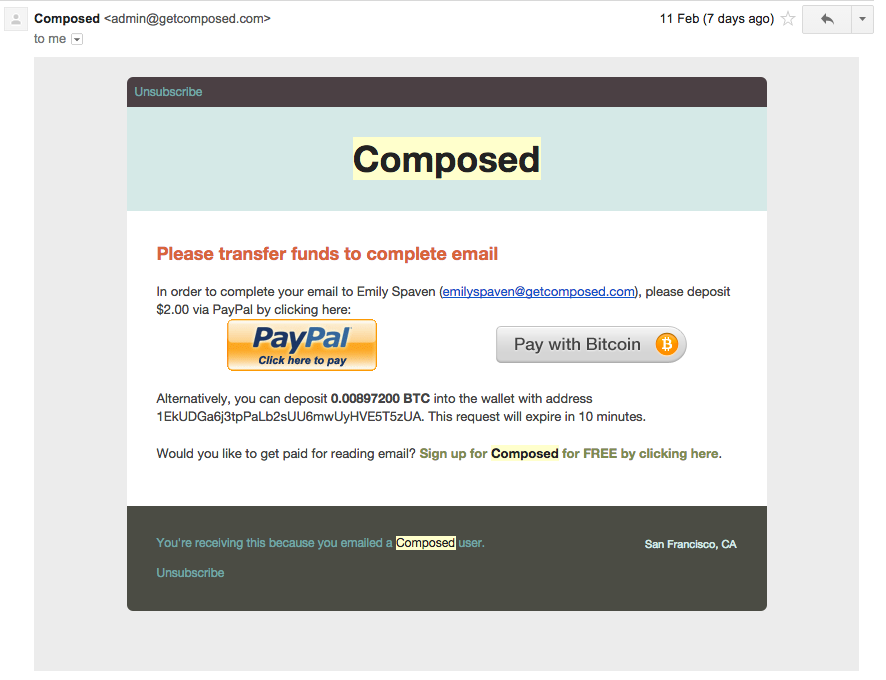 New Email Service Tackles Spam With Bitcoin Micropayments