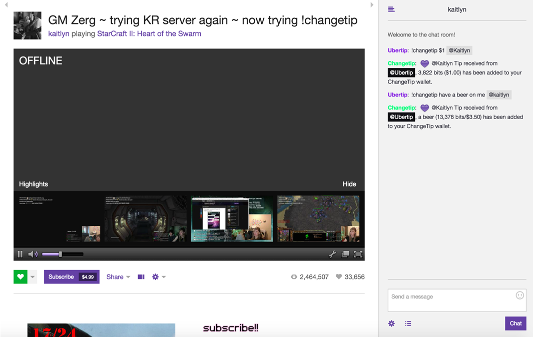 ChangeTip Integrates with Game Streaming Service Twitch tv