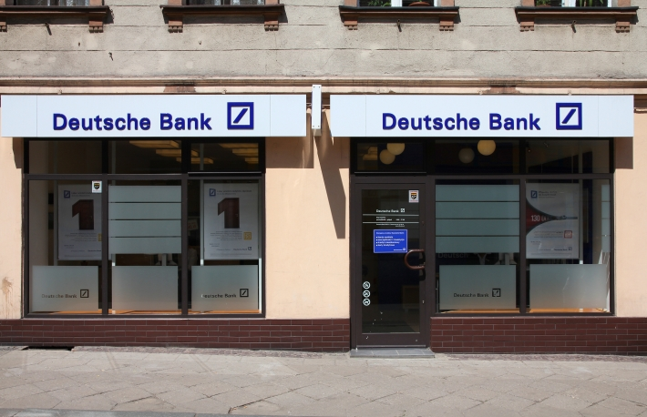 Deutsche Bank - http://www.shutterstock.com/pic-175125965/stock-photo-tarnowskie-gory-poland-may-deutsche-bank-entrance-in-tarnowskie-gory-poland-db.html?src=UN1A82Z4AU7bSAZa7MUGmw-1-0