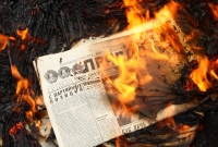 fire, newspaper