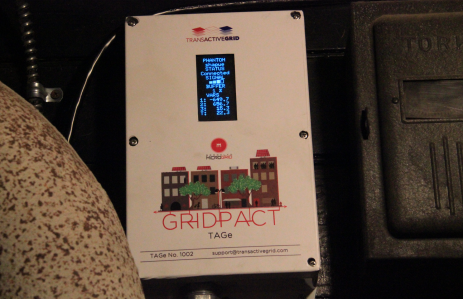 This Transactive Grid device logs enrergy units created via the user's solar panel and logs them on the blockchain for resale. (Photo credit: Michael del Castillo)