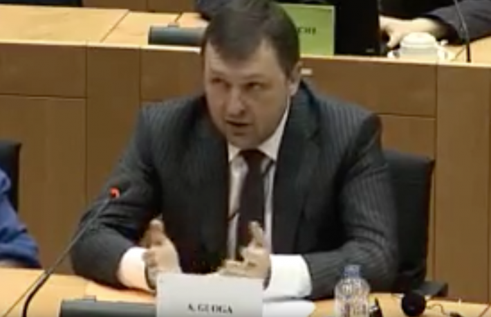 MEP Antanas Guoga on virtual currencies at the IMCO committee at the European Parliament. (Photo credit: YouTube)