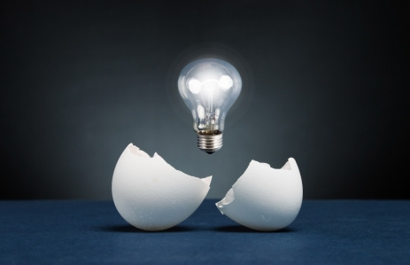 http://www.shutterstock.com/pic-77802670/stock-photo-from-the-broken-egg-the-shone-lamp-is-pulled-out.html