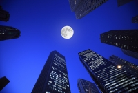 Moon and buildings