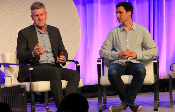 Stephen van Coller and Jed McCaleb speak at Exponential Finance in New York City in June 2016.