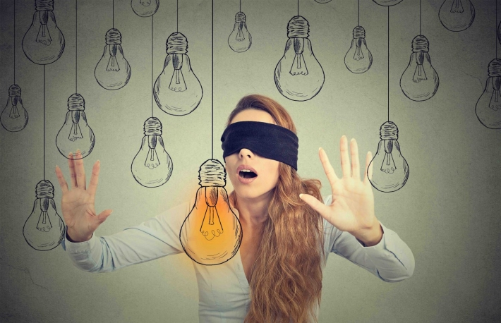 http://www.shutterstock.com/pic-377999827/stock-photo-blindfolded-young-woman-walking-through-light-bulbs-searching-for-bright-idea-gray-background.html