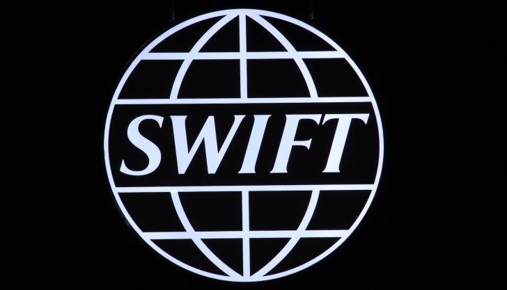 Swift logo at Sibos, 2016