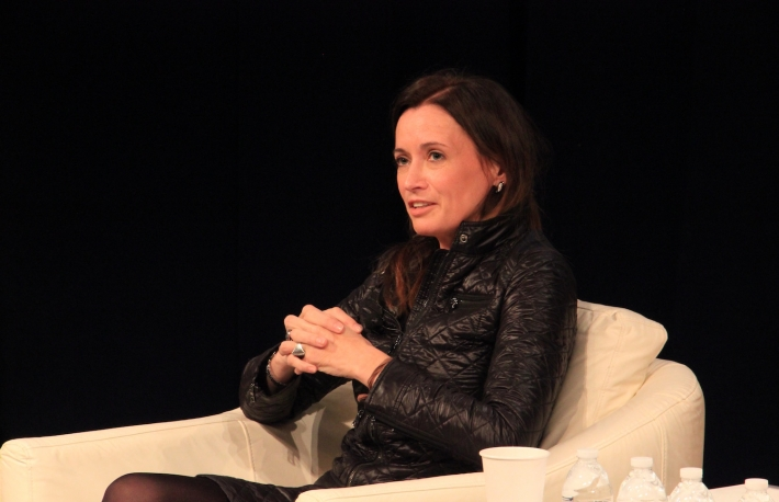 Blythe Masters on stage at the DC Blockchain Summit, March 2015. (Photo credit: Michael del Castillo)