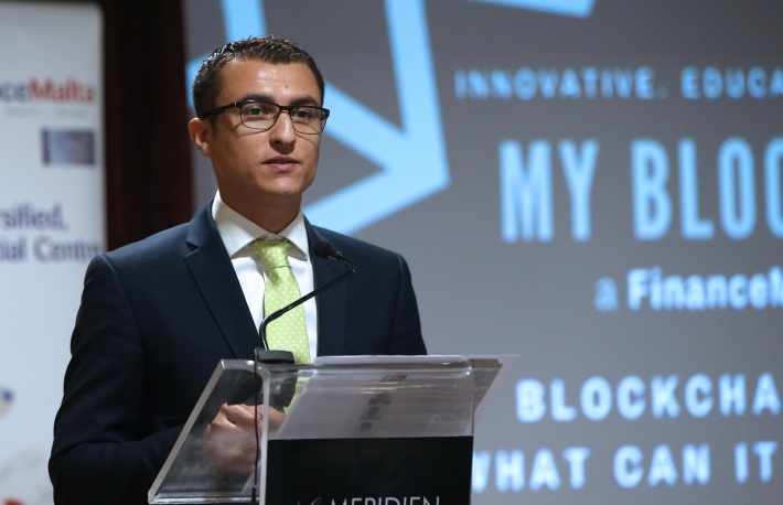 Email  Parliamentary Secretary for Financial Services, Digital Economy and Innovation Silvio Schembri addresses a Finance Malta conference on Blockchain technology-Le Meridien Hotel St Julian-29-8-17