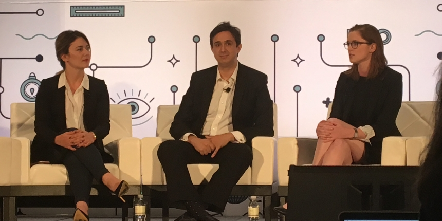 L-R: Meltem Demirors, Arthur Breitman, Kathleen Breitman at Money2020 in 2017. Photo by Marc Hochstein