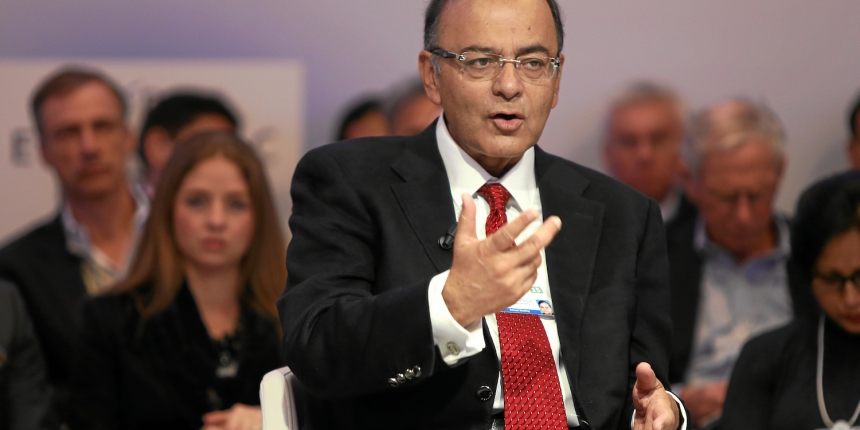 DAVOS/SWITZERLAND, 22JAN15 - Arun Jaitley, Minister of Finance, Corporate Affairs and Information and Broadcasting of India talks during the session 'An Insight, An Idea' in the congress centre at the Annual Meeting 2015 of the World Economic Forum in Davos, January 22, 2015.  WORLD ECONOMIC FORUM/swiss-image.ch/Photo Jolanda Flubacher